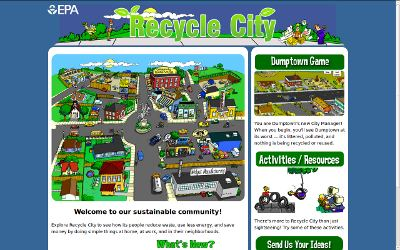 Graphic of Recycle City, an EPA educational web site's home page