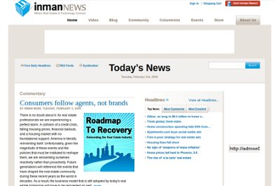 Graphic of the Inman News home page, circa 2009