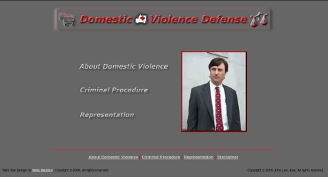 Graphic of Domestic Violence Defense web site home page - 2005
