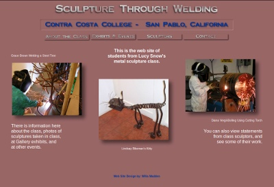 Graphic of Metal Sculpture Class web site home page - 2003
